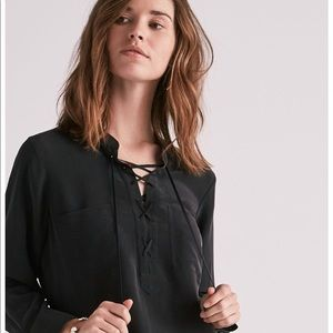 NWT Lucky Brand Silk Lace Up Top